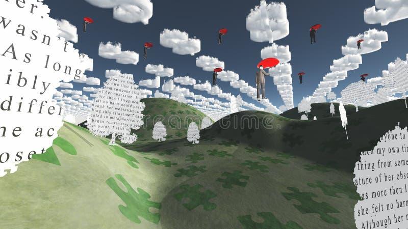 Con los paraguas rojos stock de ilustración