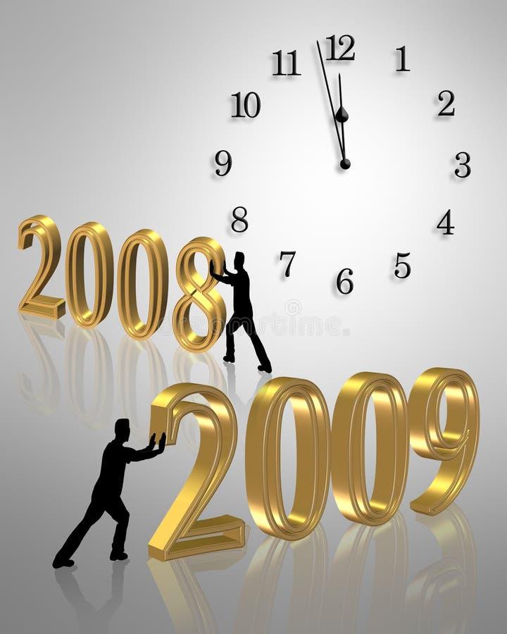 Con nell'illustrazione 2009 dell'orologio 3D di nuovo anno illustrazione di stock