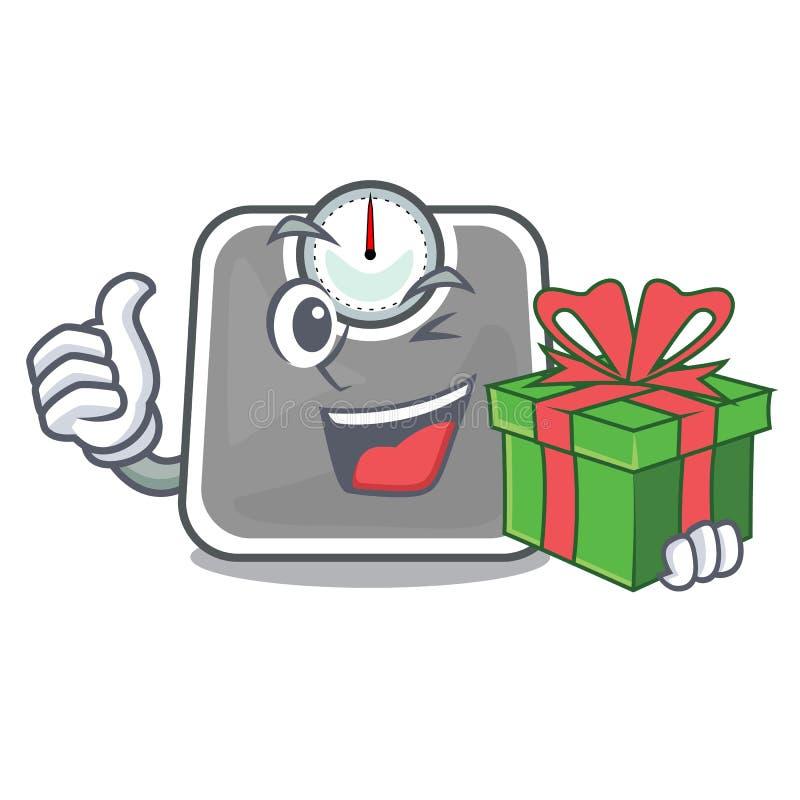 Con scala del peso del regalo en la tabla de la mascota stock de ilustración