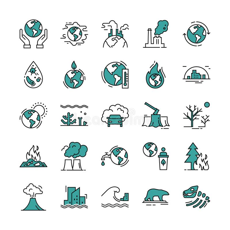 Con set of 20 pieces of vector icons isolated on a white background in a linear style. stock illustration