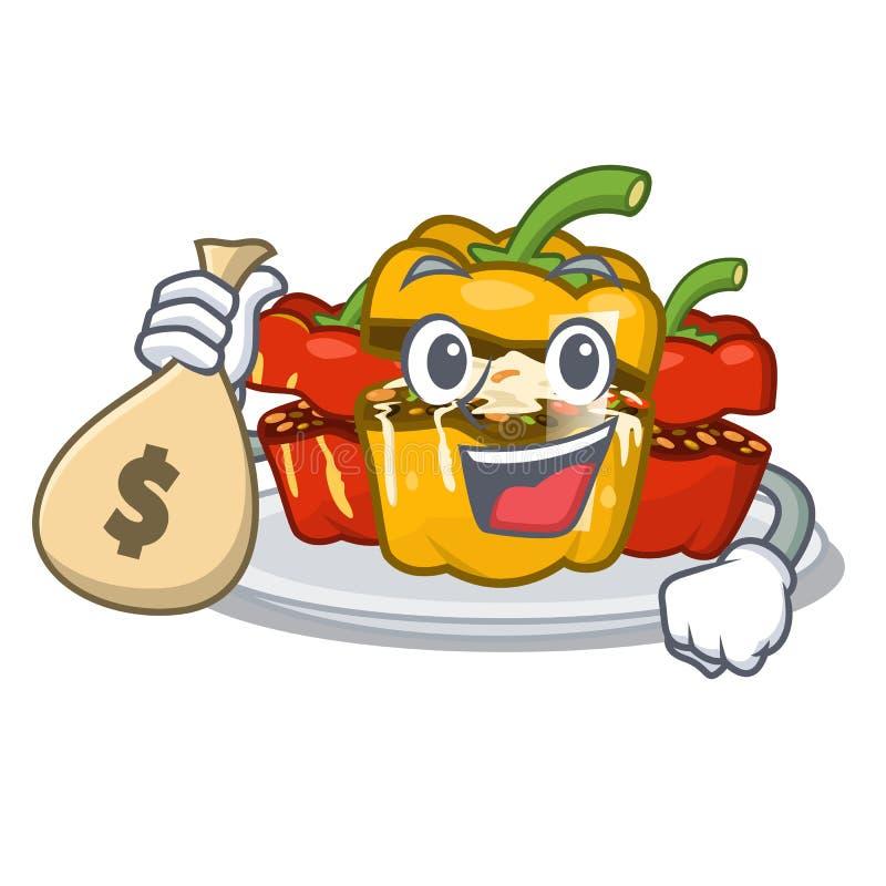 Con soldi la borsa ha farcito il pepe isolato con il fumetto illustrazione vettoriale