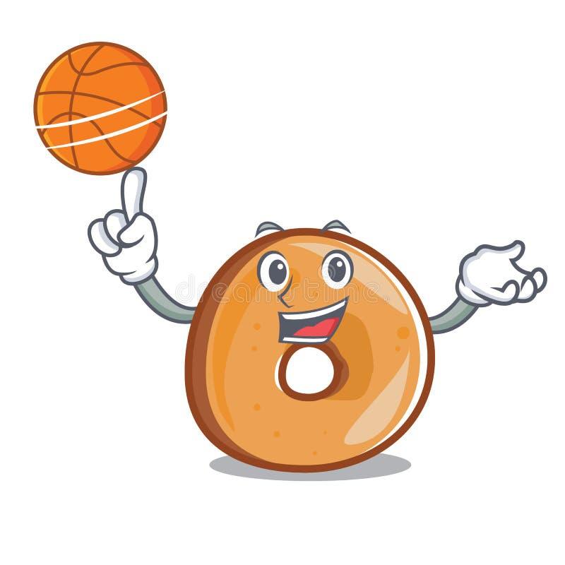 Con stile del fumetto del carattere dei bagel di pallacanestro royalty illustrazione gratis