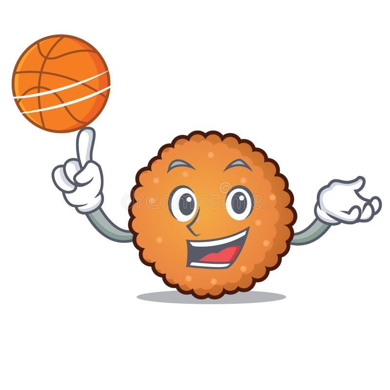 Con stile del fumetto del carattere dei biscotti di pallacanestro illustrazione vettoriale