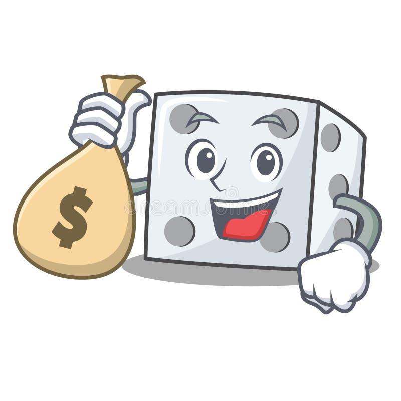 Con stile del fumetto del carattere dei dadi della borsa dei soldi royalty illustrazione gratis