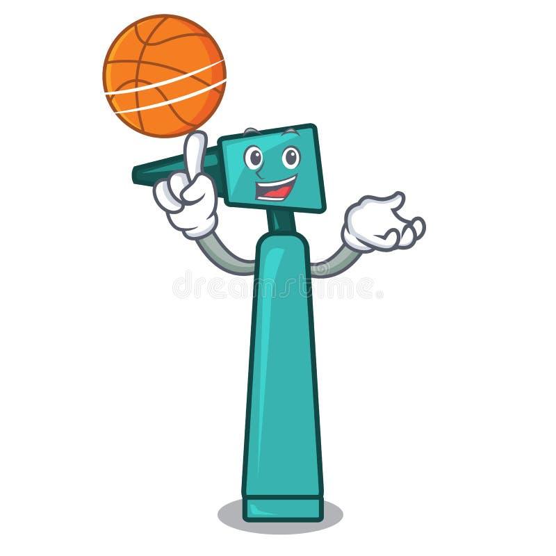 Con stile del fumetto del carattere dell'otoscopio di pallacanestro illustrazione vettoriale