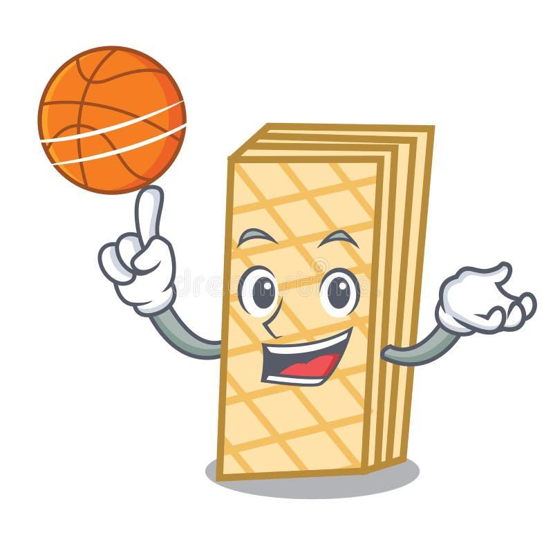 Con stile del fumetto del carattere della cialda di pallacanestro illustrazione di stock