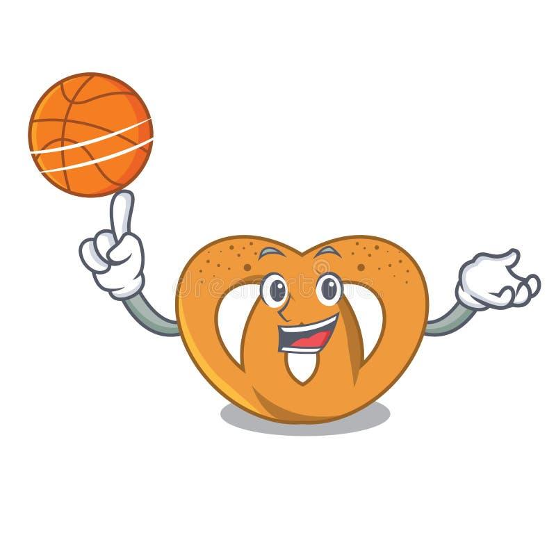 Con stile del fumetto del carattere della ciambellina salata di pallacanestro illustrazione di stock