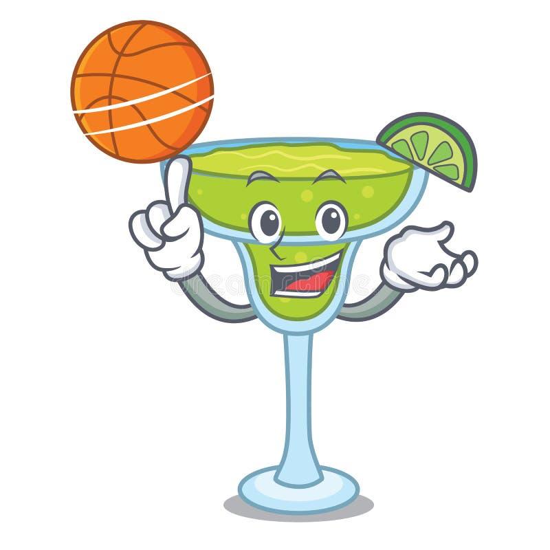 Con stile del fumetto del carattere della margarita di pallacanestro illustrazione vettoriale