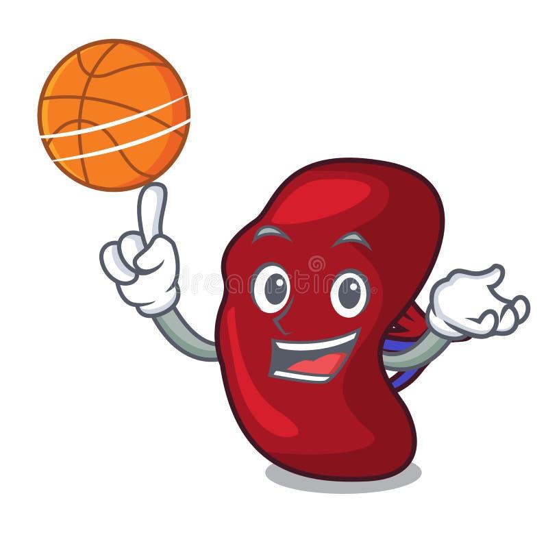 Con stile del fumetto del carattere della milza di pallacanestro illustrazione vettoriale