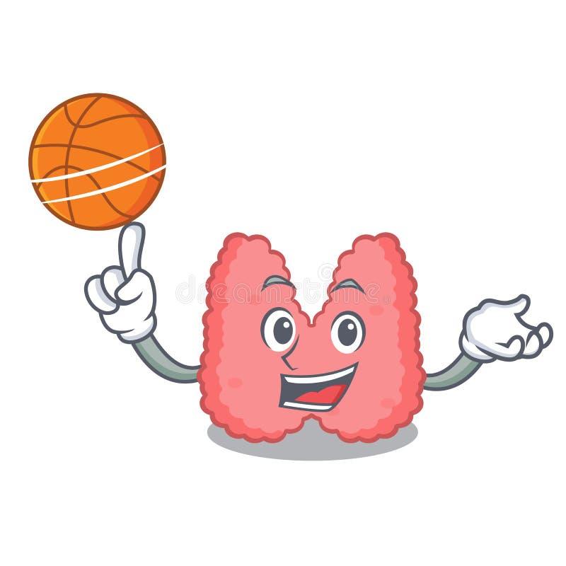 Con stile del fumetto del carattere della tiroide di pallacanestro illustrazione di stock