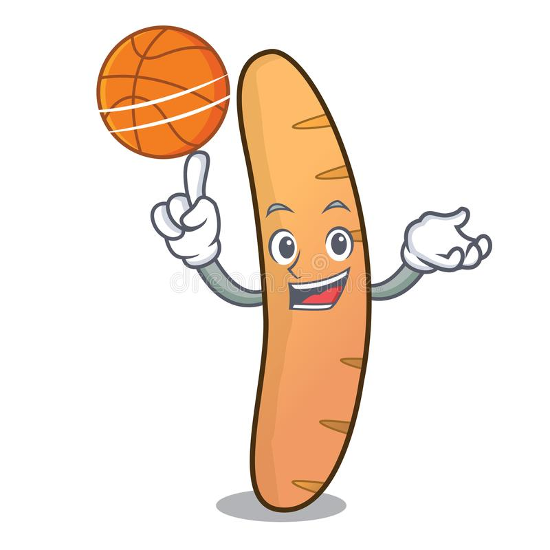 Con stile del fumetto del carattere delle baguette di pallacanestro illustrazione vettoriale
