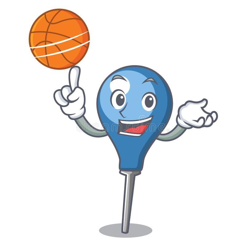 Con stile del fumetto del carattere di clyster di pallacanestro illustrazione vettoriale