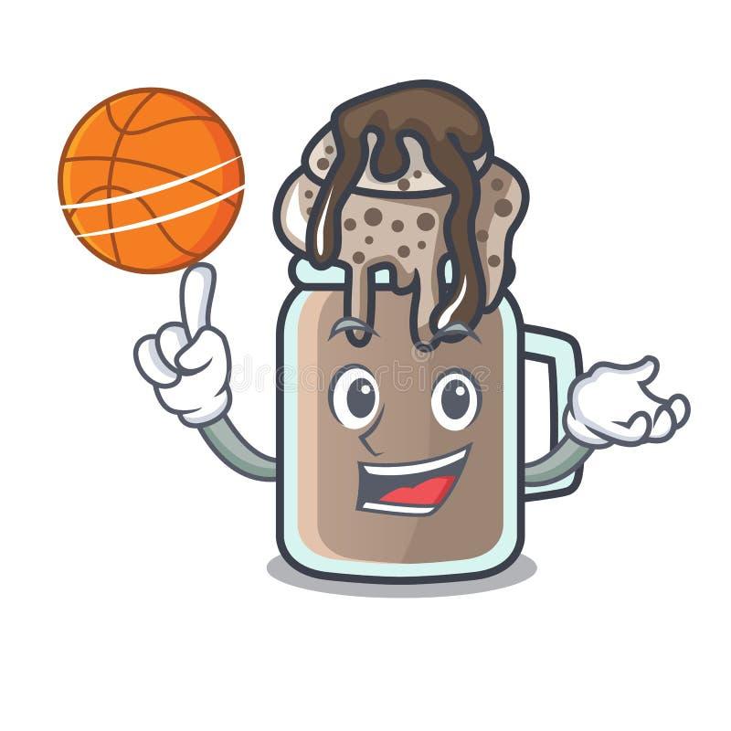 Con stile del fumetto del carattere del frappé di pallacanestro illustrazione di stock