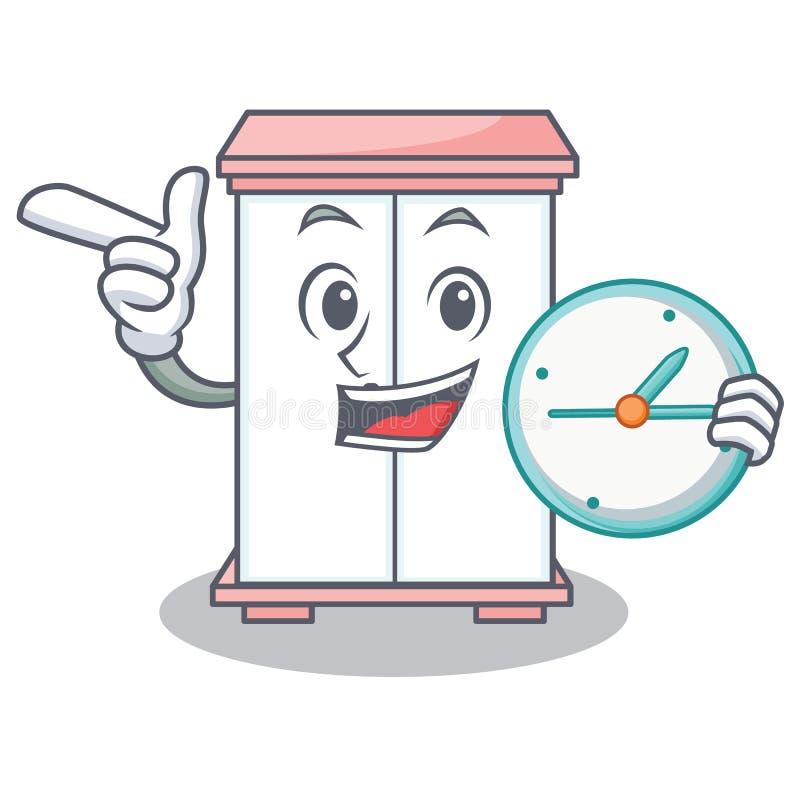 Con stile del fumetto del carattere del gabinetto dell'orologio illustrazione vettoriale