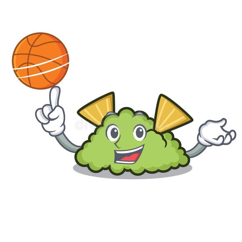 Con stile del fumetto del carattere del guacamole di pallacanestro royalty illustrazione gratis