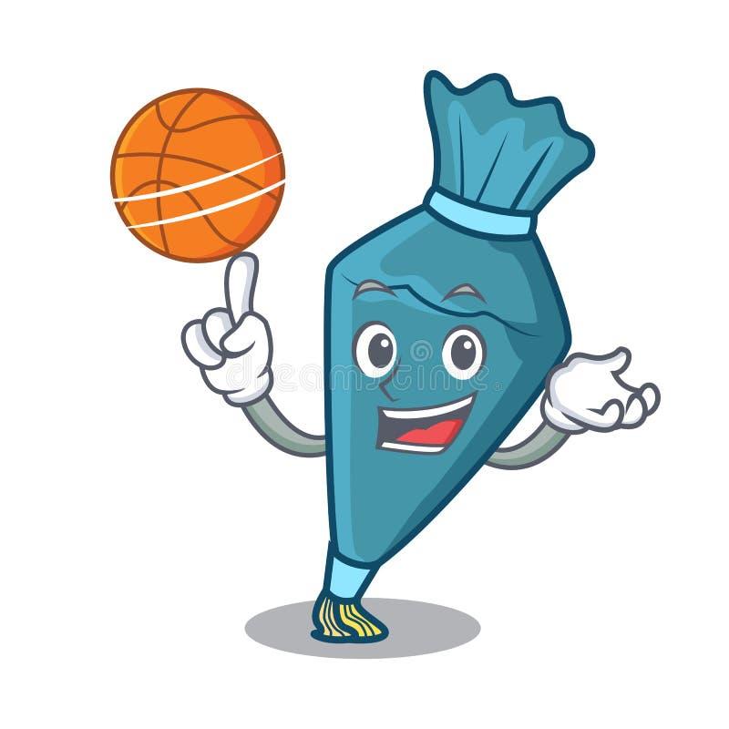 Con stile del fumetto del carattere del pastrybag di pallacanestro illustrazione di stock