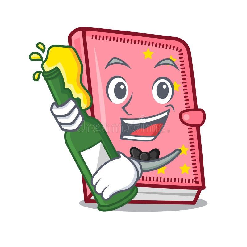 Con stile del fumetto della mascotte del diario della birra illustrazione vettoriale