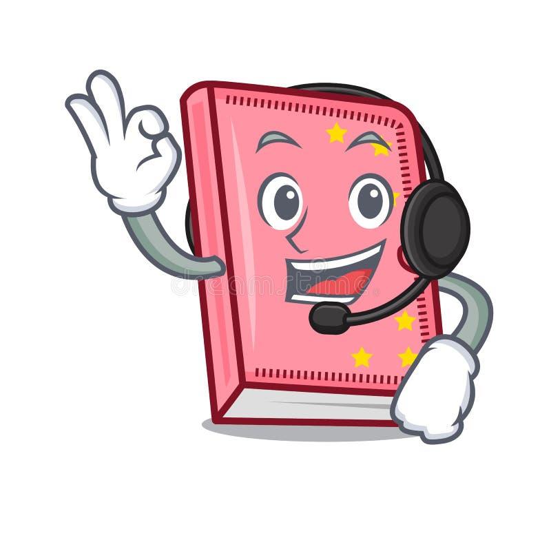 Con stile del fumetto della mascotte del diario della cuffia illustrazione vettoriale