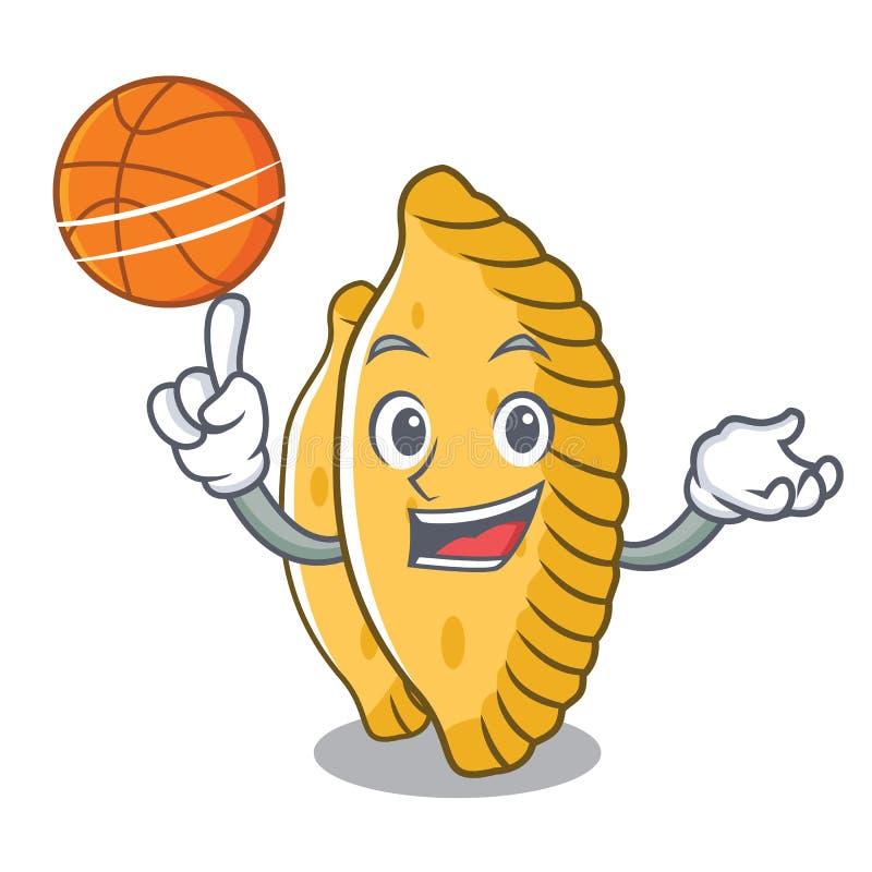 Con stile pastello del fumetto del carattere di pallacanestro illustrazione vettoriale