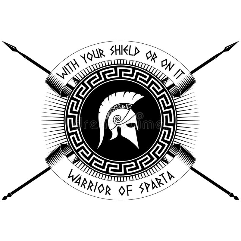 Con su escudo o en él stock de ilustración