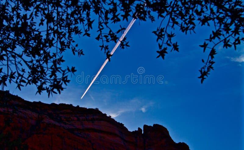 Con Trail Before Arizona Sunrise stock photos
