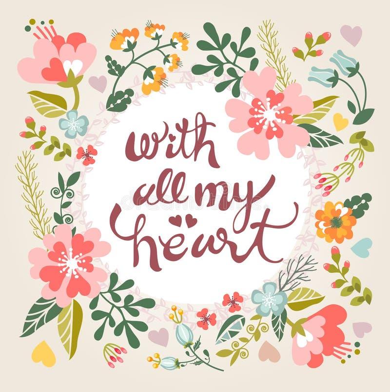Con tutto il mio cuore Carta floreale alla moda nei colori luminosi di estate illustrazione vettoriale