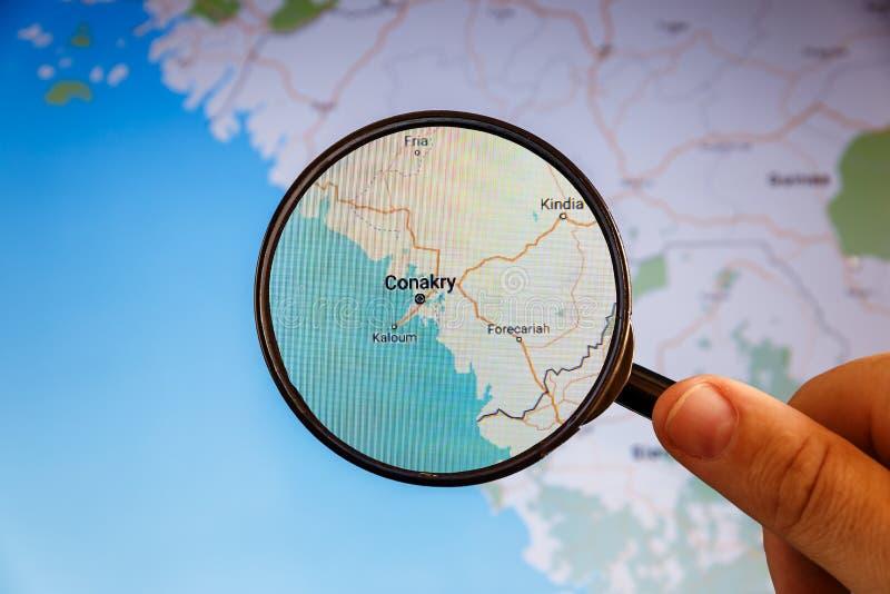 Conakry, Guinea politieke kaart stock afbeeldingen