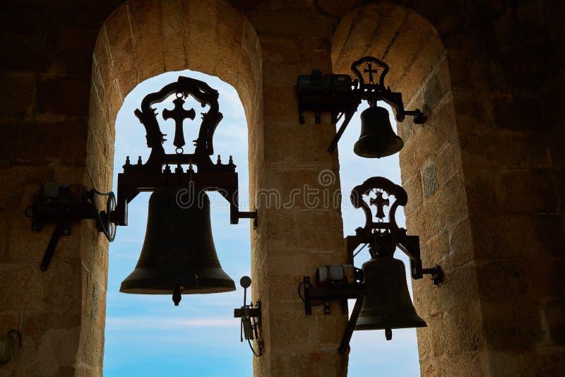 Concatedralde Santamaria Belfry klok Caceres stock afbeeldingen