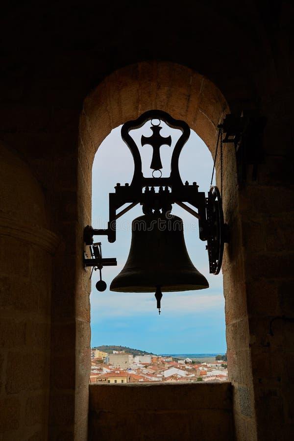 Concatedralde Santamaria Belfry klok Caceres royalty-vrije stock fotografie