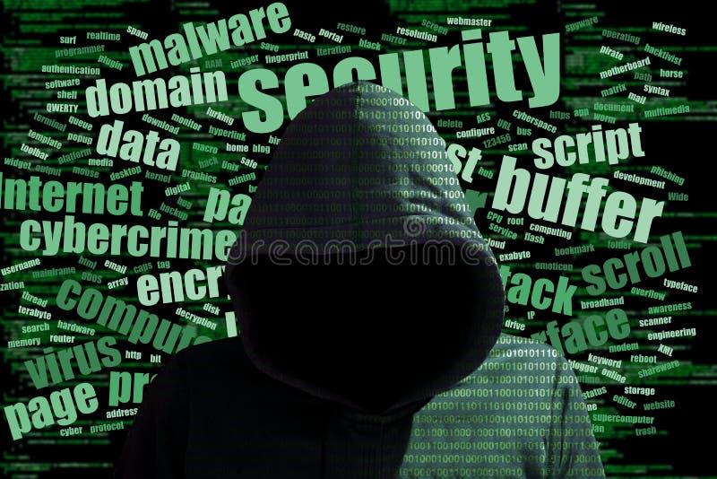 Conce ασφαλείας πληροφοριών σύννεφων λέξης cybersecurity χάκερ Hoody στοκ εικόνες