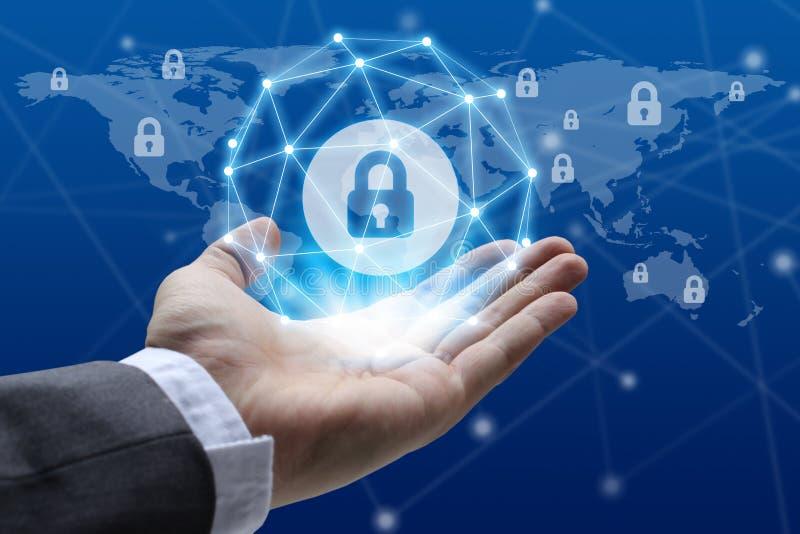 Conce уединения технологии дела защиты данных безопасностью кибер стоковое фото