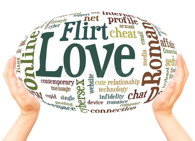 Conce en ligne de sphère de main de nuage de mot de flirt Romance d'amour d'amour de date illustration libre de droits
