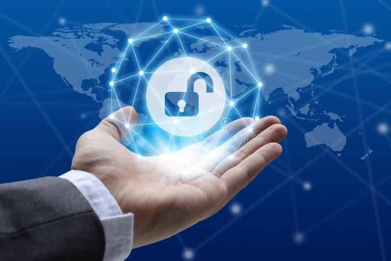 Conce för avskildhet för teknologi för affär för skydd för Cybersäkerhetsdata royaltyfri fotografi