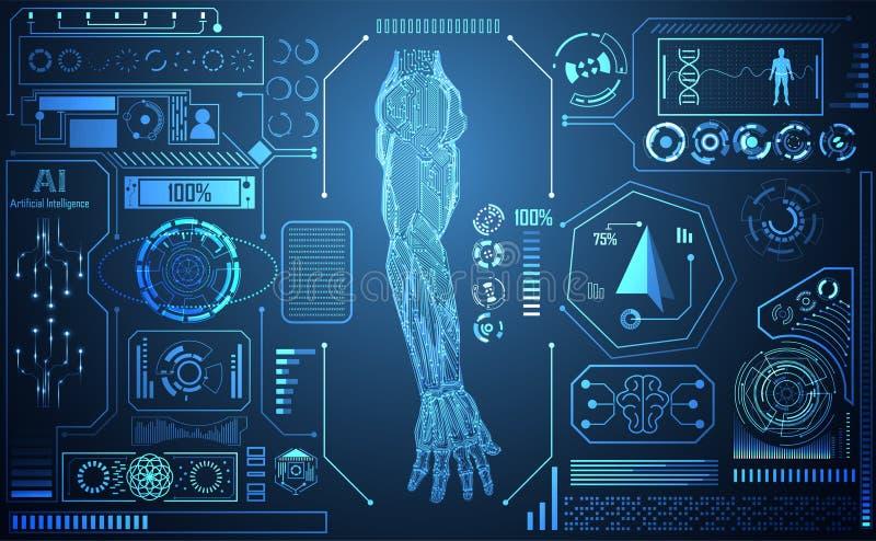 Conce för konstgjord intelligens för abstrakt teknologiAI-arm digital stock illustrationer