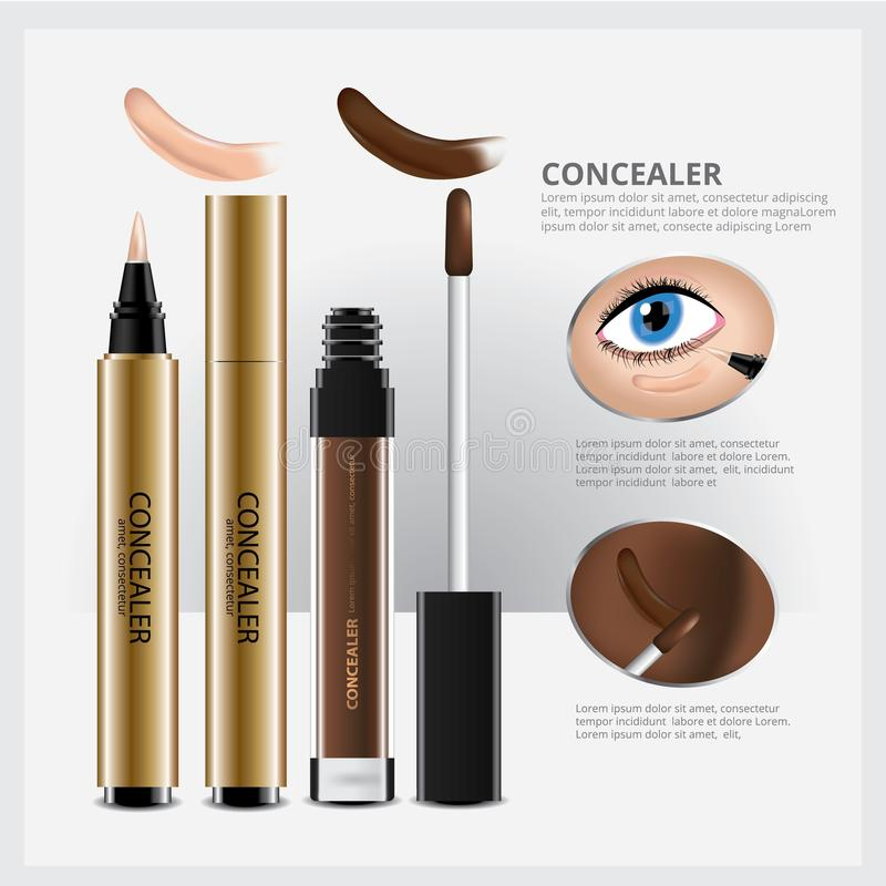 Concealer Cosmetic Package with Face Makeup stock illustration