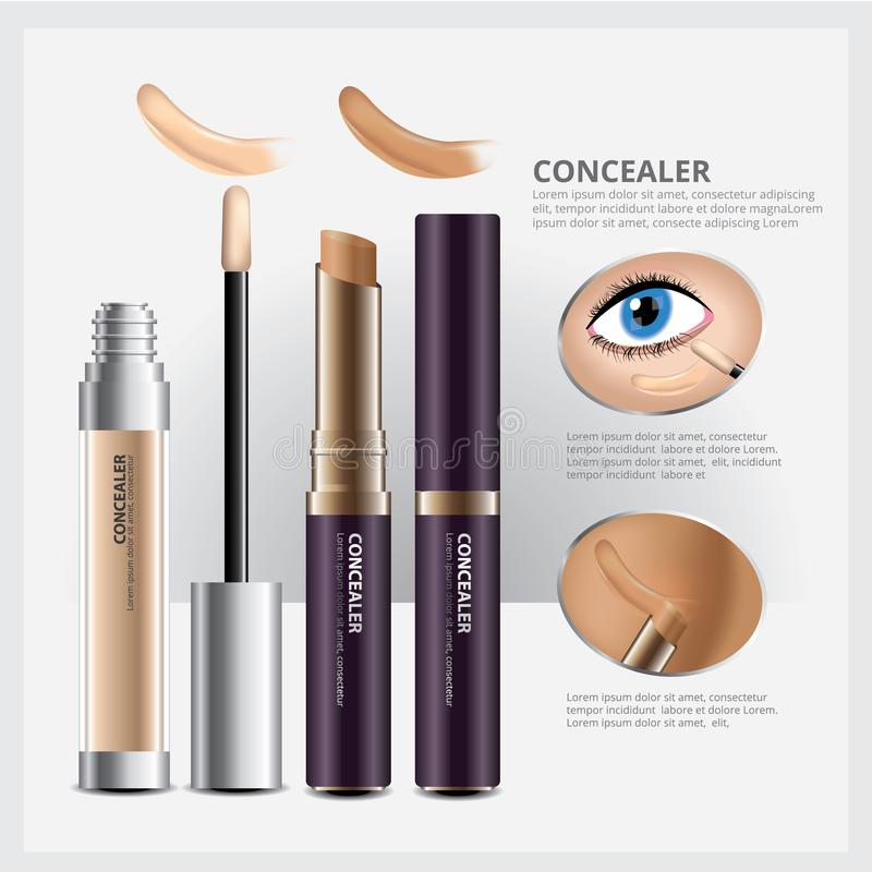 Concealer Cosmetic Package with Face Makeup. Vector Illustration vector illustration