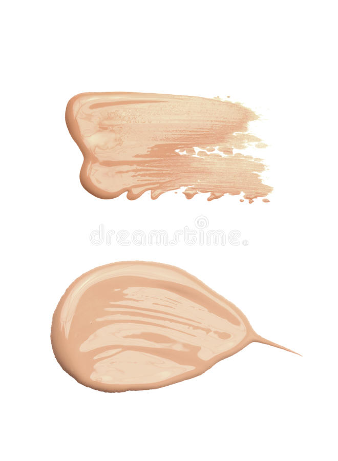 Concealer or tone cream smudged. And isolated on white stock image