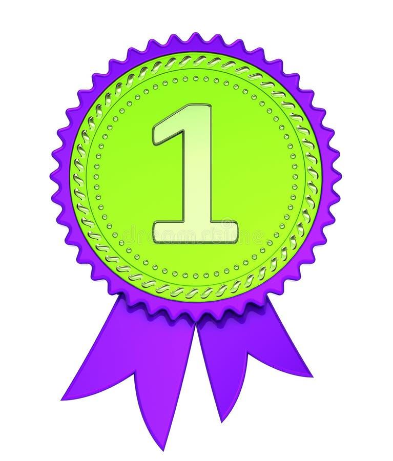 Conceda lugar da fita o ø primeiro, numere 1 uma medalha roxo verde ilustração stock
