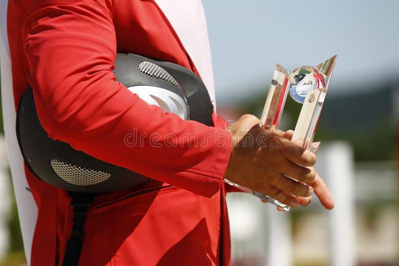 Conceda o cavaleiro de vencimento no revestimento vermelho que guarda o troféu foto de stock