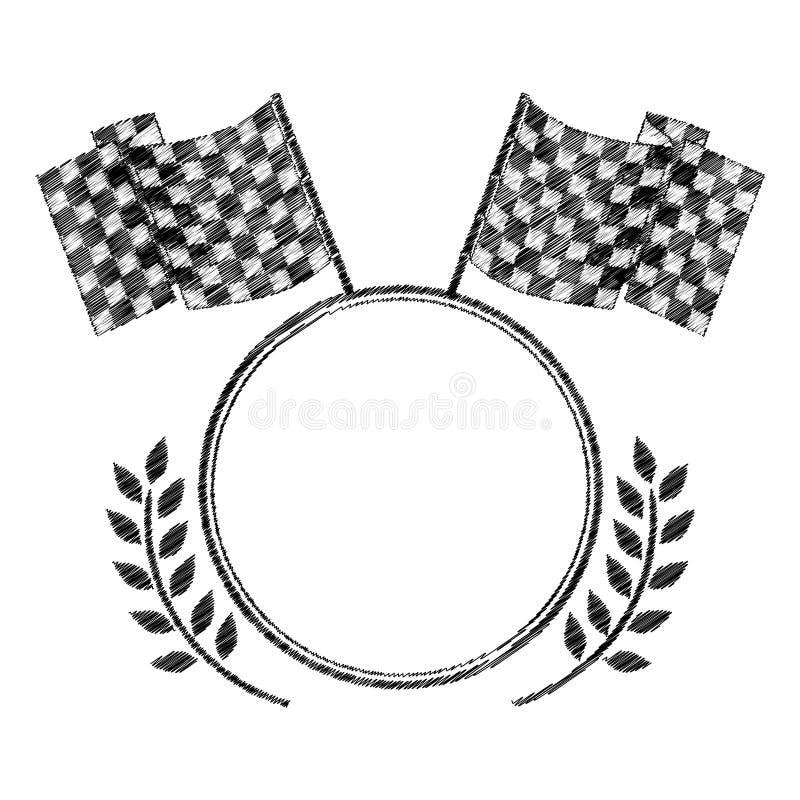 Conceda o monochrome a listrado de competir bandeiras e ramo de oliveira ilustração do vetor