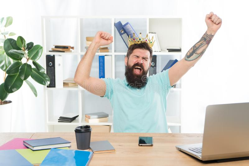 Conceited happy winner. confident smiling man. Positive human emotion. facial expression of bearded man hipster. feeling royalty free stock photography