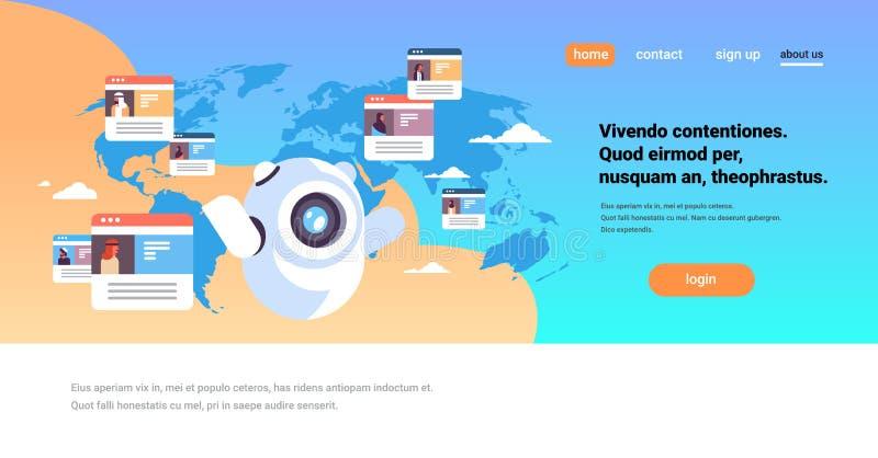 Conceito árabe global da aplicação de comunicação dos povos do mensageiro em linha do chatbot do robô sobre o fundo do mapa do mu ilustração royalty free