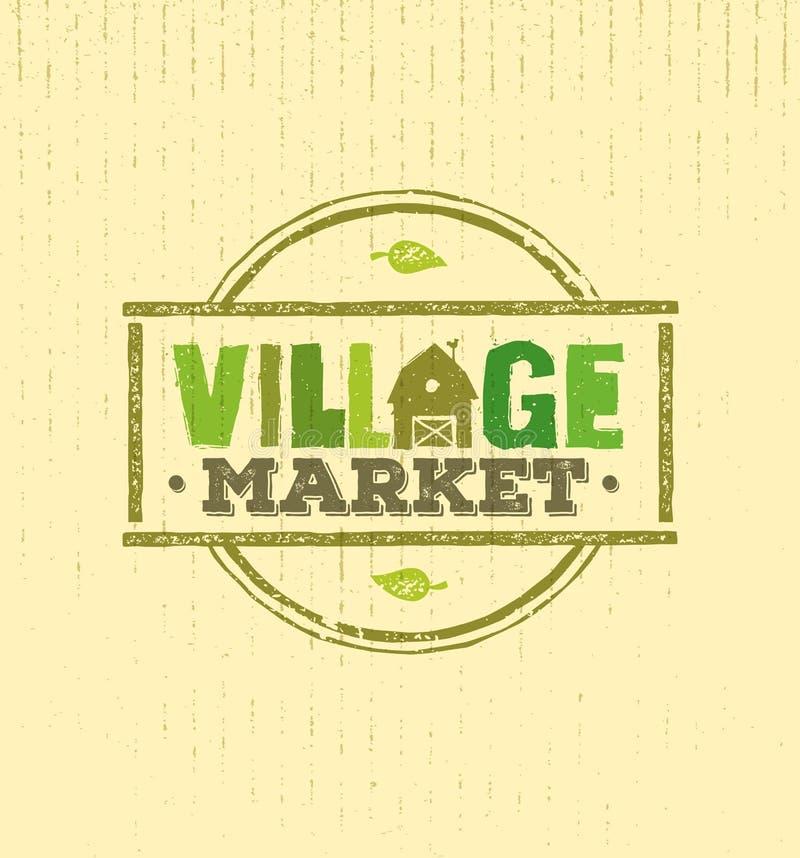 Conceito áspero do vetor do selo do mercado da vila Ilustração local do sinal do alimento no fundo do papel do ofício ilustração do vetor