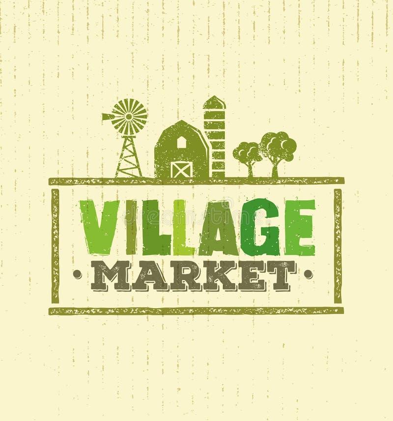 Conceito áspero do vetor do selo do mercado da vila Ilustração local do sinal do alimento no fundo do papel do ofício ilustração royalty free