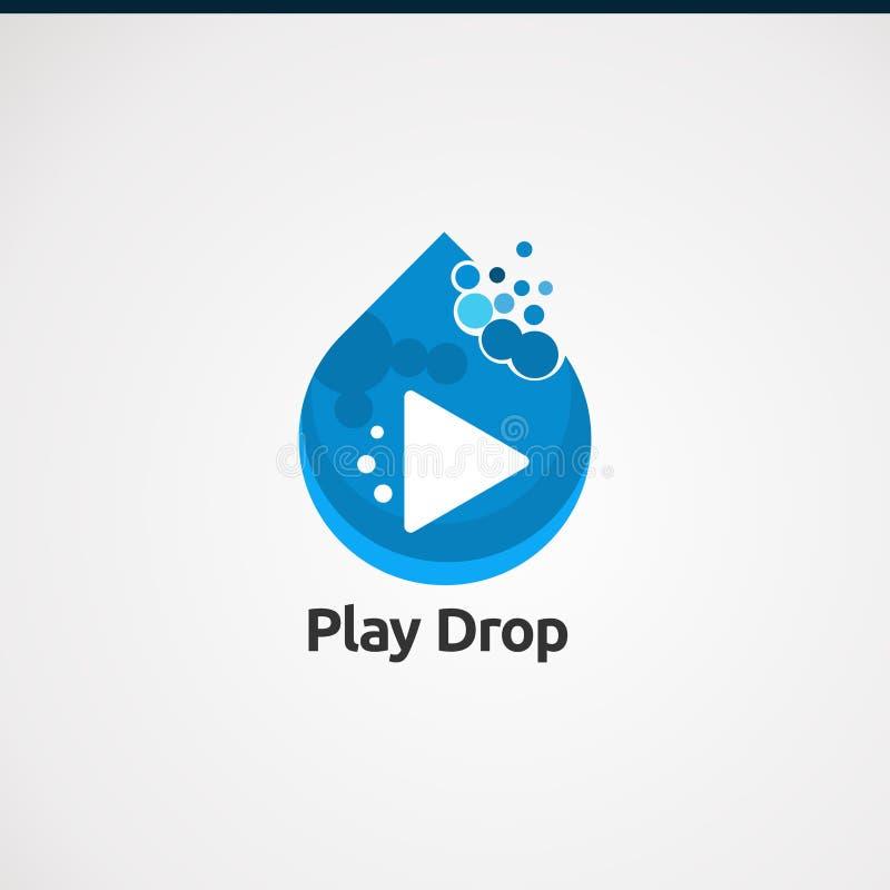 Conceito, ícone, elemento, e molde do vetor do logotipo da gota do jogo para a empresa ilustração do vetor