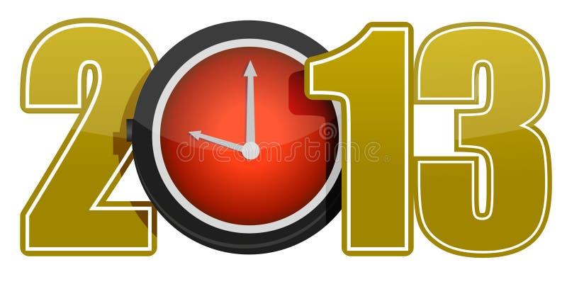 Conceito 2013 do ano novo com pulso de disparo vermelho ilustração stock