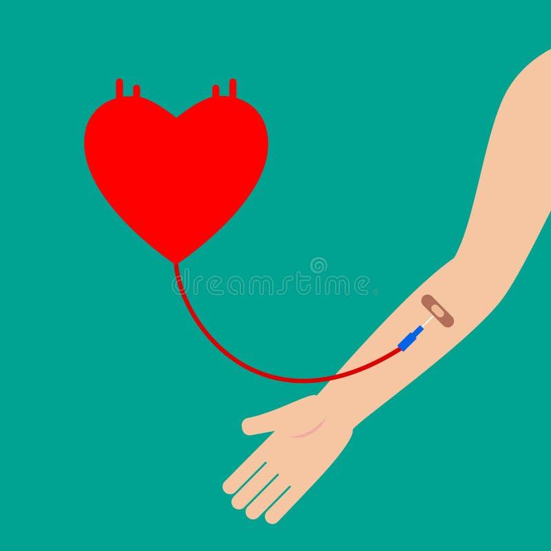 Conceito abstrato da doação de sangue Sangue de recepção paciente ilustração stock