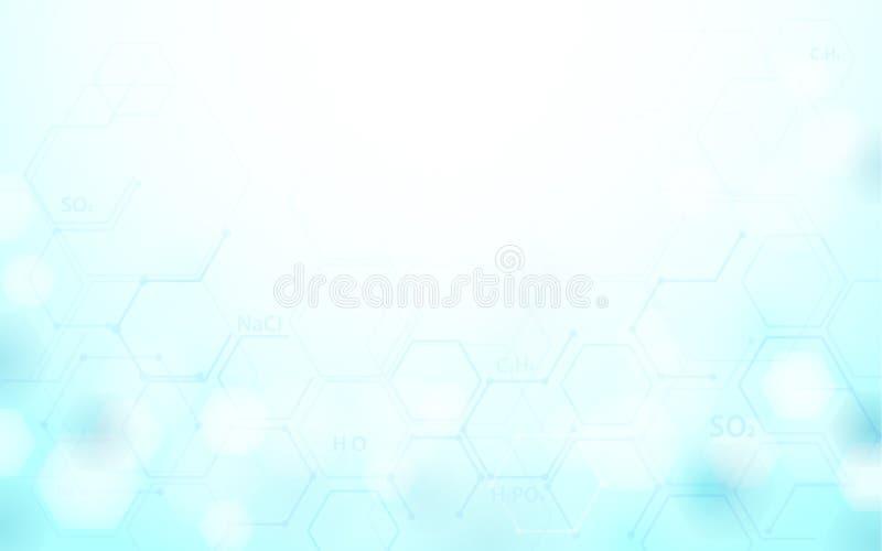 Conceito abstrato da fórmula da ciência da química no fundo azul macio ilustração do vetor