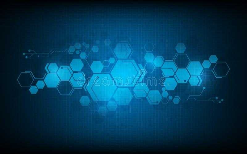 Conceito abstrato da inovação do fundo do projeto do fi do sci da tecnologia do teste padrão do hexágono ilustração do vetor