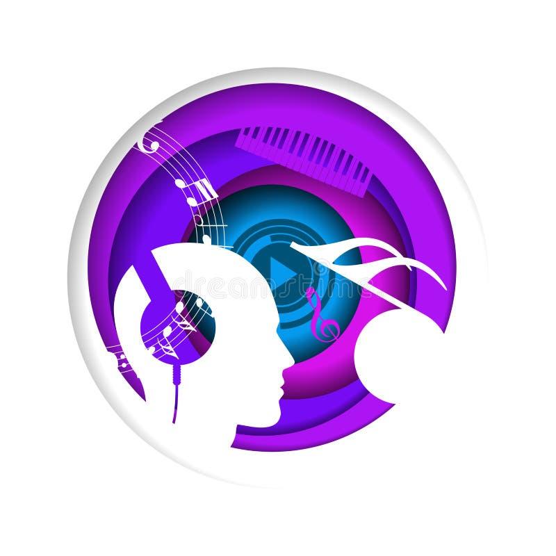 Conceito abstrato da música em um círculo imaginação Fundo ilustração stock